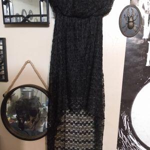 Super Sexy Strapless Black Lace Dress